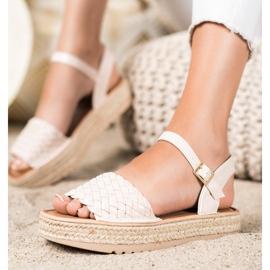 SHELOVET Plecione Sandały Espadryle beżowy 3