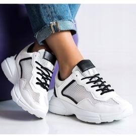 SHELOVET Sneakersy Z Siateczką białe 4
