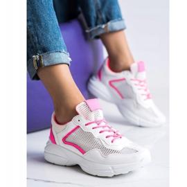 SHELOVET Sneakersy Z Siateczką białe różowe 2
