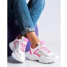 SHELOVET Sneakersy Z Siateczką białe różowe 3