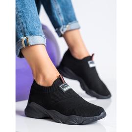 SHELOVET Czarne Wsuwane Sneakersy Fashion 3