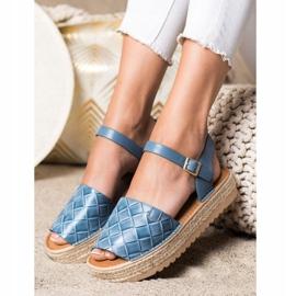 SHELOVET Sandały Espadryle Z Eko Skóry niebieskie 2