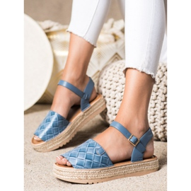 SHELOVET Sandały Espadryle Z Eko Skóry niebieskie 3