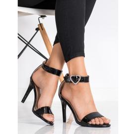Diamantique Sandały Na Szpilce Z Ozdobą czarne 4