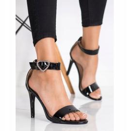 Diamantique Sandały Na Szpilce Z Ozdobą czarne 3