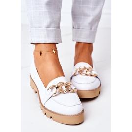 Skórzane Mokasyny Lewski Shoes 3040 Białe 1