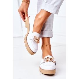 Skórzane Mokasyny Lewski Shoes 3040 Białe 2