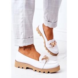 Skórzane Mokasyny Lewski Shoes 3040 Białe 3