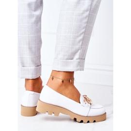 Skórzane Mokasyny Lewski Shoes 3040 Białe 4