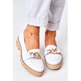 Skórzane Mokasyny Lewski Shoes 3040 Białe 5