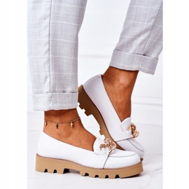 Skórzane Mokasyny Lewski Shoes 3040 Białe 6