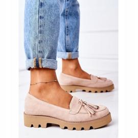 Zamszowe Mokasyny Lewski Shoes 3053 Cappuccino beżowy 5