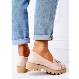 Zamszowe Mokasyny Lewski Shoes 3053 Cappuccino beżowy 4