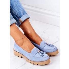 Zamszowe Mokasyny Lewski Shoes 3053 Błękitne niebieskie 1