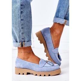 Zamszowe Mokasyny Lewski Shoes 3053 Błękitne niebieskie 3