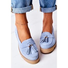 Zamszowe Mokasyny Lewski Shoes 3053 Błękitne niebieskie 2