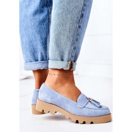 Zamszowe Mokasyny Lewski Shoes 3053 Błękitne niebieskie 4