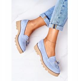 Zamszowe Mokasyny Lewski Shoes 3053 Błękitne niebieskie 5
