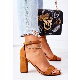 PS1 Zamszowe Sandały Na Słupku Camel Florence brązowe 2