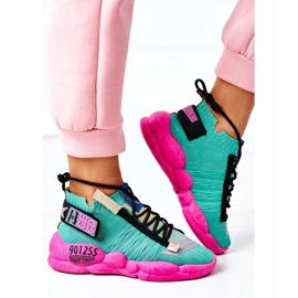 PS1 Damskie Sportowe Buty Sneakersy Zielone Bubble Tea różowe 3