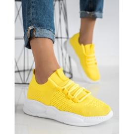 SHELOVET Klasyczne Tekstylne Sneakersy żółte 3