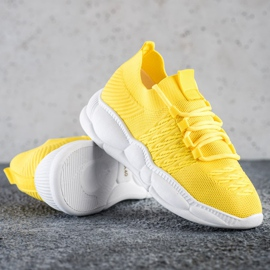 SHELOVET Klasyczne Tekstylne Sneakersy żółte 1