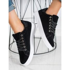 SHELOVET Zamszowe Sneakersy czarne 1