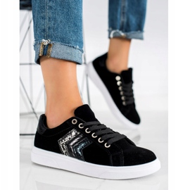 SHELOVET Zamszowe Sneakersy czarne 2