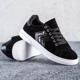 SHELOVET Zamszowe Sneakersy czarne 3