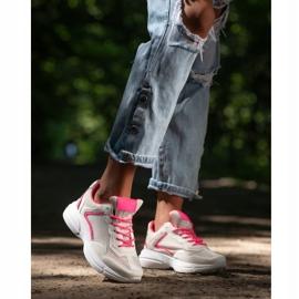 SHELOVET Sneakersy Z Siateczką białe różowe 4