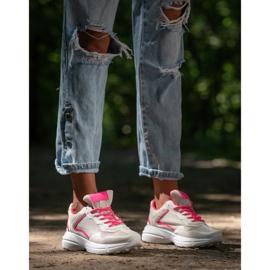 SHELOVET Sneakersy Z Siateczką białe różowe 5