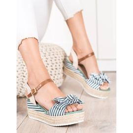 Sweet Shoes Sandały Espadryle W Paski zielone 3
