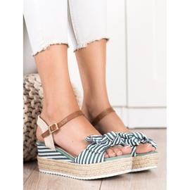 Sweet Shoes Sandały Espadryle W Paski zielone 1