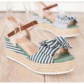 Sweet Shoes Sandały Espadryle W Paski zielone 2