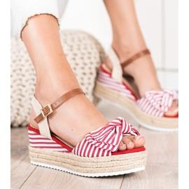 Sweet Shoes Sandały Espadryle W Paski czerwone 2