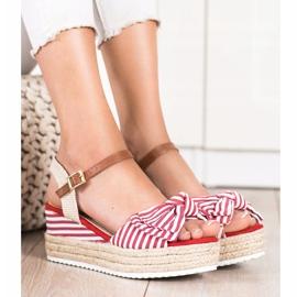 Sweet Shoes Sandały Espadryle W Paski czerwone 3