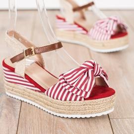 Sweet Shoes Sandały Espadryle W Paski czerwone 1