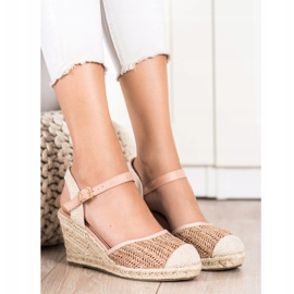 Sweet Shoes Ażurowe Espadryle Na Koturnie beżowy brązowe różowe 1