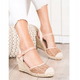 Sweet Shoes Ażurowe Espadryle Na Koturnie beżowy brązowe różowe 2