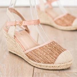 Sweet Shoes Ażurowe Espadryle Na Koturnie beżowy brązowe różowe 3