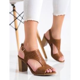 Renda Ażurowe Sandały Z Eko Skóry brązowe 2