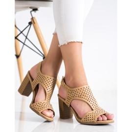 Renda Ażurowe Sandały Z Eko Skóry brązowe 3
