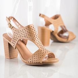 Renda Ażurowe Sandały Z Eko Skóry brązowe 1
