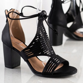 Renda Ażurowe Sandały Z Wiązaniem czarne 1