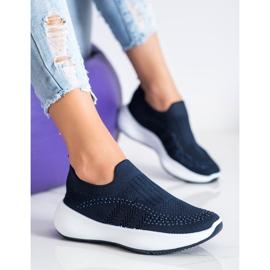 Renda Wsuwane Sneakersy Z Kryształkami niebieskie 2
