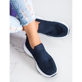Renda Wsuwane Sneakersy Z Kryształkami niebieskie 3