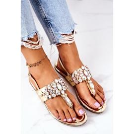 Sandały Japonki Z Kryształami Lu Boo Złote złoty 1