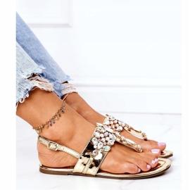Sandały Japonki Z Kryształami Lu Boo Złote złoty 4