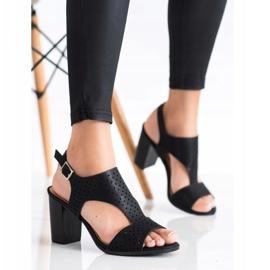 Renda Ażurowe Sandały Z Eko Skóry czarne 3