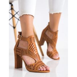 Renda Ażurowe Sandały Fashion brązowe 3